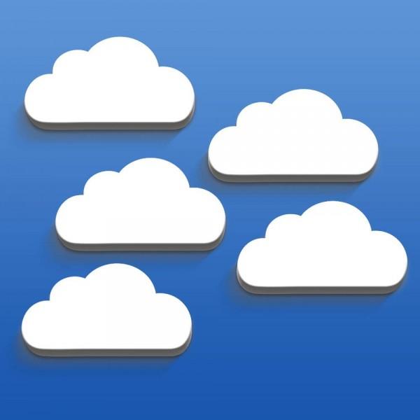3D Wanddeko Wolken Weiß Groß 5er-Set (W100)