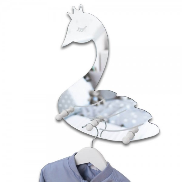 Spiegel-Garderobe Schwan Silber (S403)