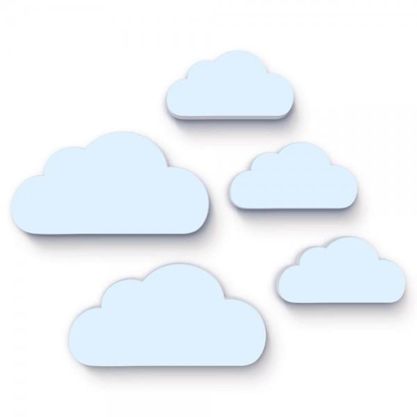 3D Wanddeko Wolken Blau 5er-Set (W052)