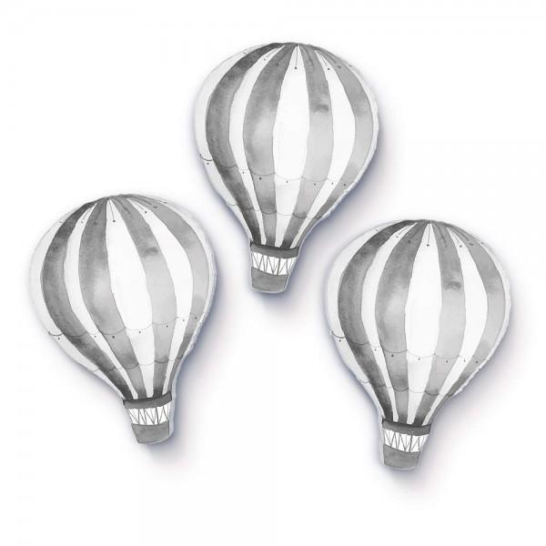 Heißluftballons hellgrau 3er-Set (W200)