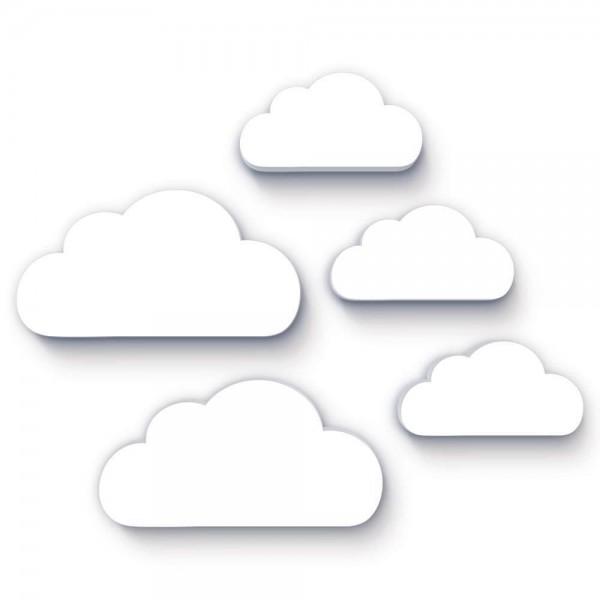 3D Wanddeko Wolken Weiß 5er-Set (W051)