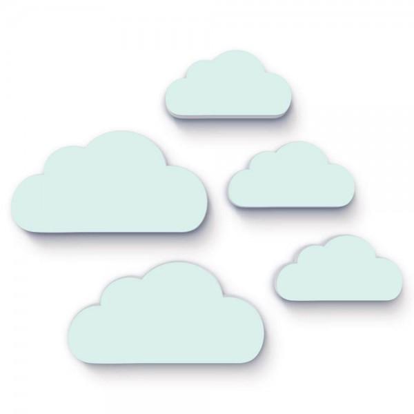3D Wanddeko Wolken Mint 5er-Set (W054)