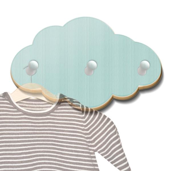 Holz Garderobe Wolke mintgrün