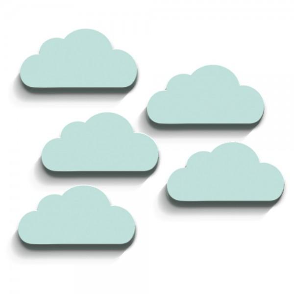 3D Wanddeko Wolken Mint Groß 5er-Set (W102)
